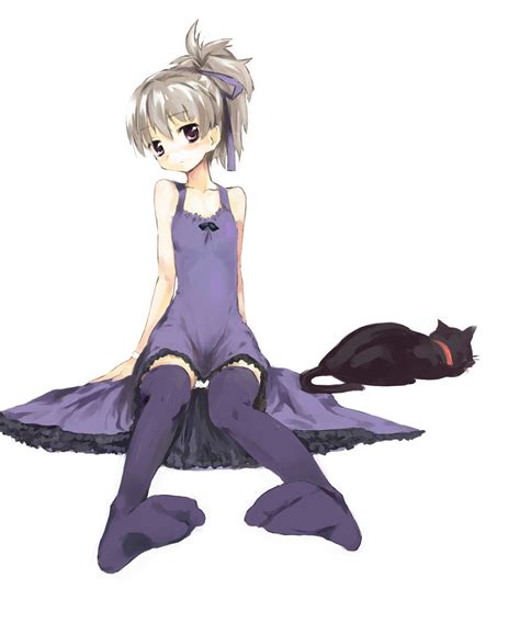 Dress Ribbon Cat 1girl black cat cat darker than black dress hair ribbon highres mao darker than black