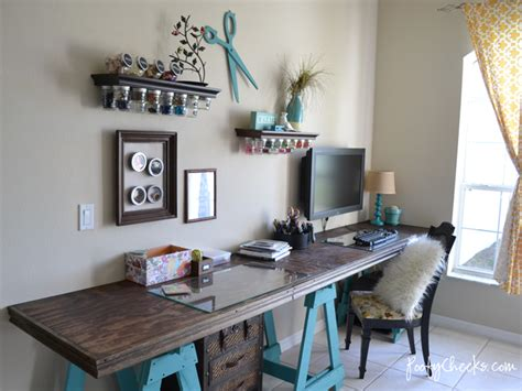 diy craft room ideas i that junk craft room reveal with sawhorse desk