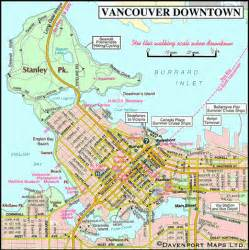 maps view canada map of vancouver downtown columbia travel and
