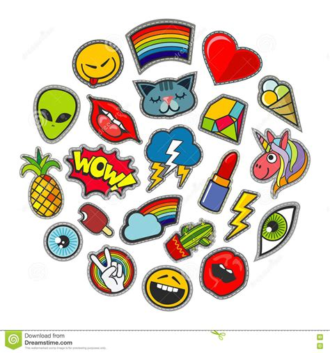 design online patches cute vector patches icons in circle design stock vector