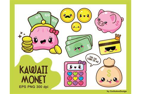 kawaii money illustrations creative market