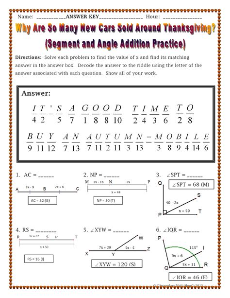 Geometry Worksheet 1 2 Congruence And Segment Addition by The Spectacular World Of Secondary Math November 2014