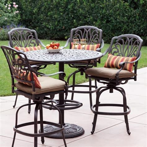 outdoor bar stool sets darlee elisabeth 5 piece cast aluminum patio bar set with swivel bar stools ultimate patio