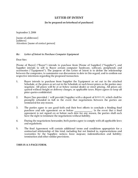 Letter Of Intent To Purchase Machine letter of intent to purchase computer equipment