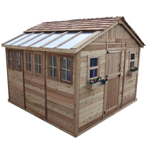 outdoor sheds outdoor living today sunshed 12 ft x 12 ft western red