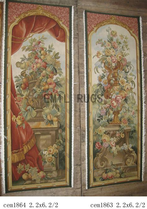 Handmade Tapestry Wall Hangings - wool antique handmade aubusson gobelin 2 2 x 6 2