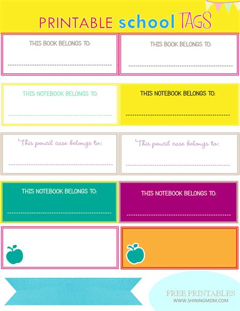 7 Best Images Of Free Printable School Labels Back To School Name Tags Printable Free Free School Book Labels Template