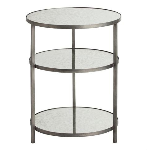 3 tier side table percy round 3 tiered contemporary mirrored zinc end table