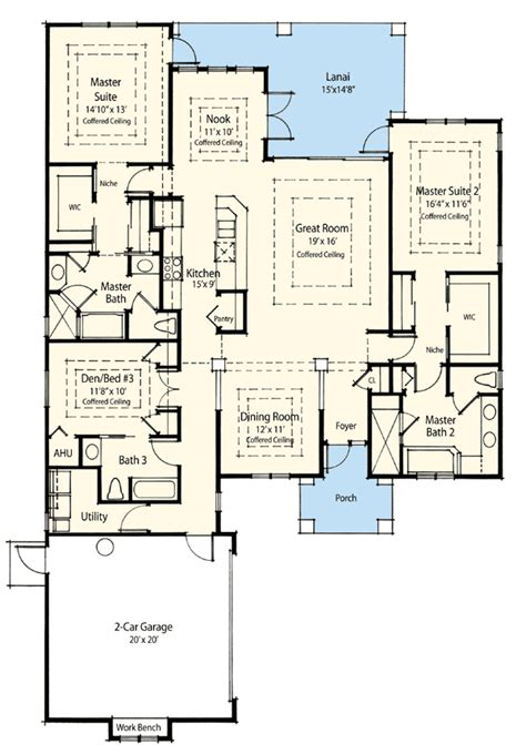 home floor plans with 2 master suites dual master suite energy saver 33093zr 1st floor master suite cad available den office