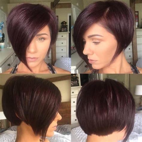 shorter hairstyles with side bangs and an angle women s chic asymmetrical blowout bob with copper ombre