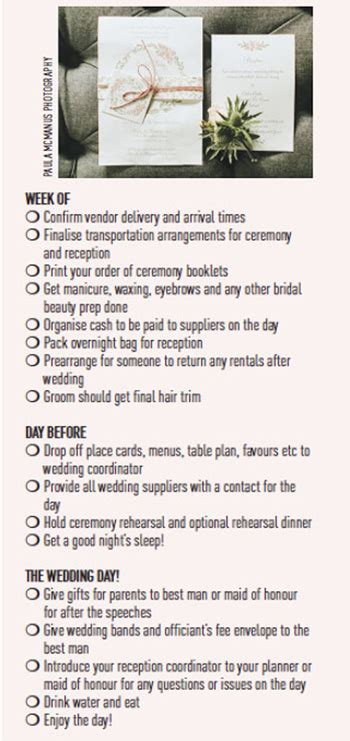 wedding checklist week of your week of wedding checklist to and