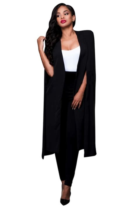 womens slit sleeve cape design long plain blazer black