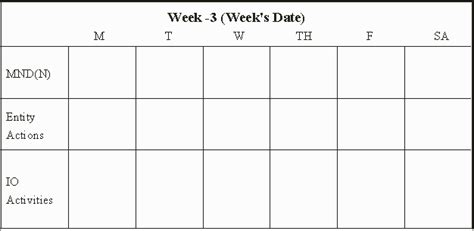 Three Week Calendar Template