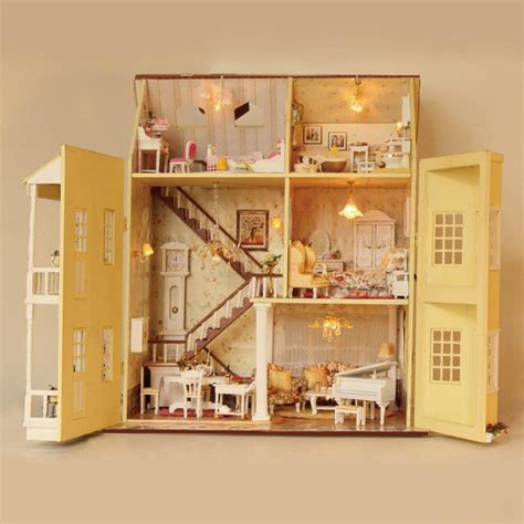 model doll house large diy doll house handmade villa 3d miniature wooden building model dollhouse