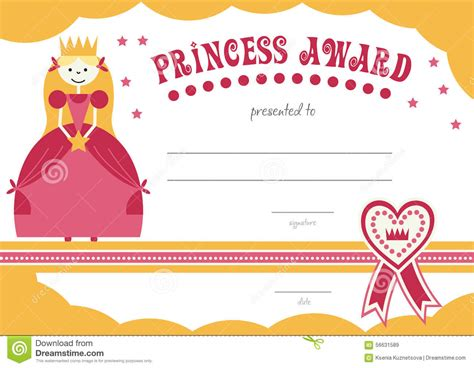 printable princess certificate has a pretty pink stock