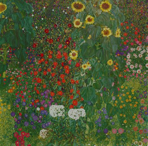 Farm Garden With Flowers By Gustav Klimt Gustav Klimt Flower Garden