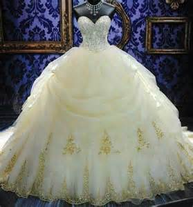 what color is cinderella s dress beautiful stunning wedding gown white with a gold