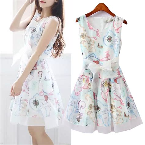 casual cute fashion floral print model image 200779 summer ladies short formal dresses sleeveless chiffon blue