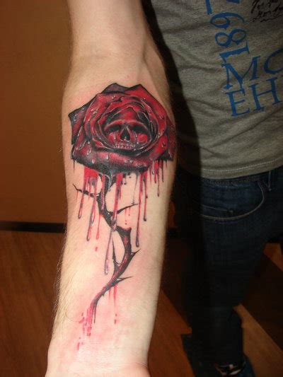 gothic rose and skull by rublev tattoo on deviantart