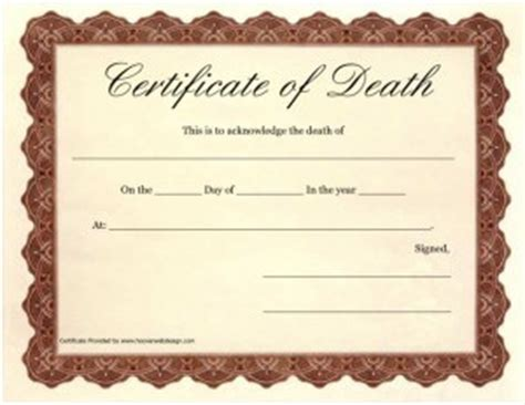 templates for death certificates death certificate template certificate templates
