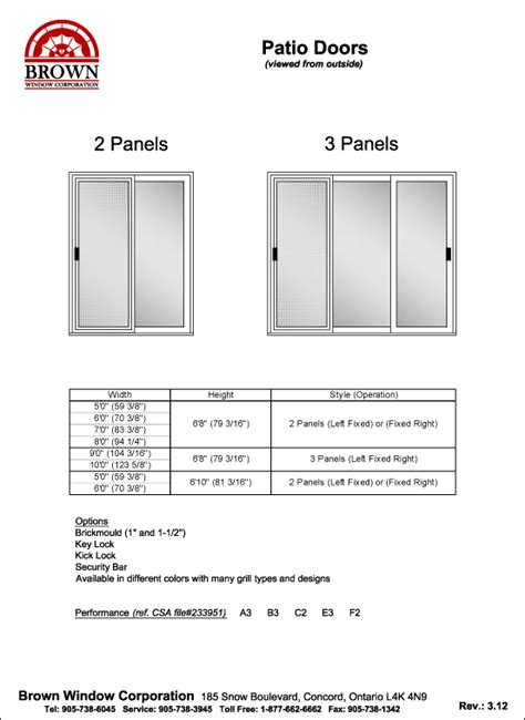 Patio Door Standard Sizes Patio Door Window Size Chart From Brown Window Corporation