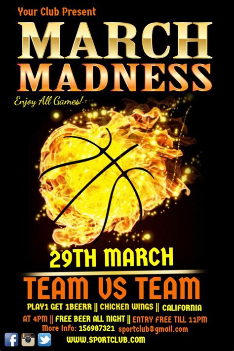 flyer templates for your march madness party on electrifying print