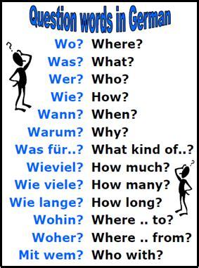 kinder wann german question words wo was wer wie wann warum was