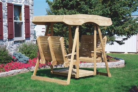 double glider swing amish pine double lawn swing glider with canopy