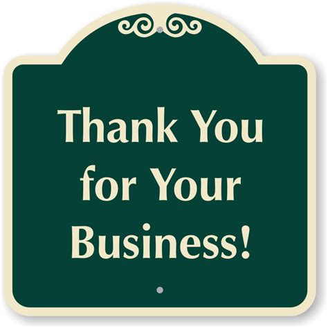 signs your you thank you for your business sign sku k 0075
