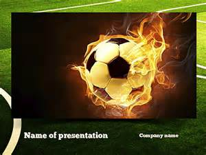 football in fire flame presentation template for
