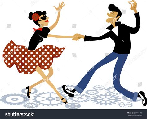tutorial dance rock and roll cartoon couple dressed rockabilly style fashion stock