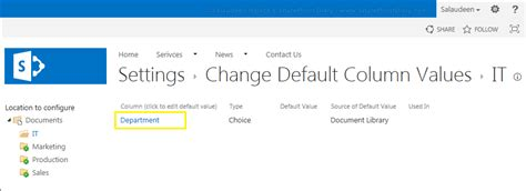reset sharepoint online to default column default value settings based on location in