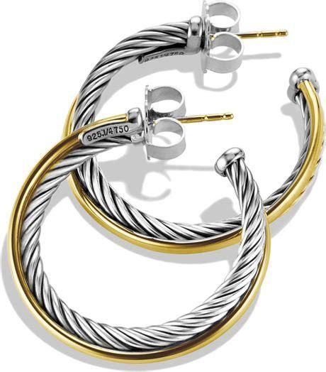 Allen Dons Gold Ribbed Hoop Earrings A La Hilary Duff by David Yurman Crossover Medium Hoop Earrings With Gold In