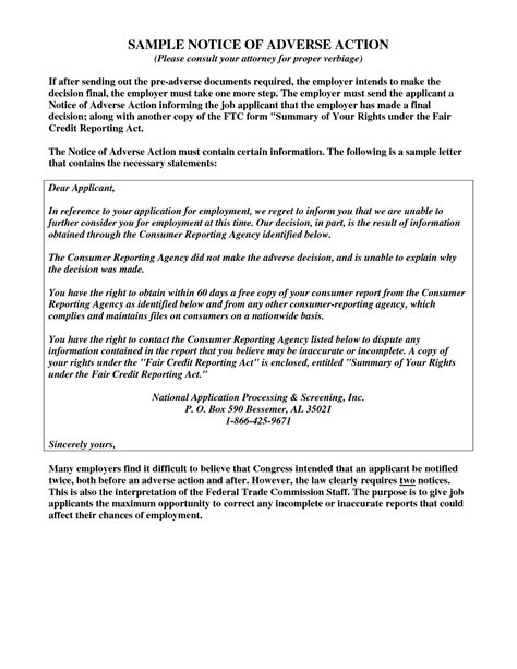 Fcra Credit Letter Best Photos Of Exles Of Notice Of Adverse Notice Letter Employee Corrective