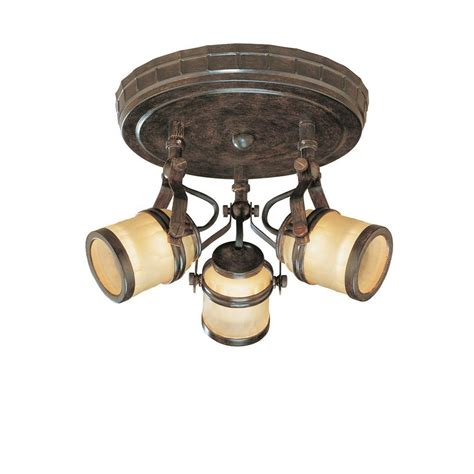 3 light flush mount ceiling light hton bay 3 light iron oxide ceiling semi flush mount