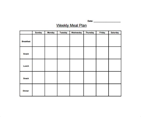 weekly diet template sle weekly meal plan template 14 free documents in