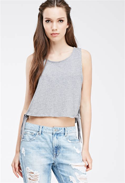 Forever 21 Tank Top Salur lyst forever 21 self tie tank top in gray