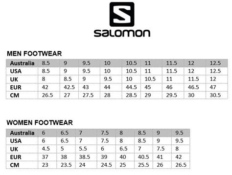 shoe size chart salomon salomon size chart salomon speedcross 4 running shoe