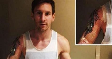 messi tattoo rechter arm lionel messi reveals third tattoo but argentinian