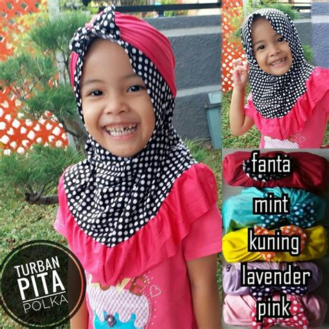 Turban Bayi Anak Model Pita Warna jilbab anak turban pita polka sentral grosir jilbab