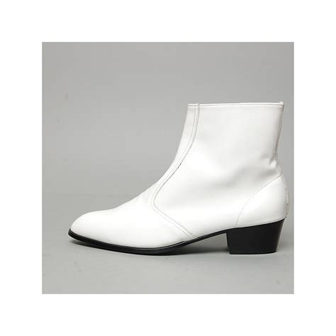 s inner real leather western glossy white side zip