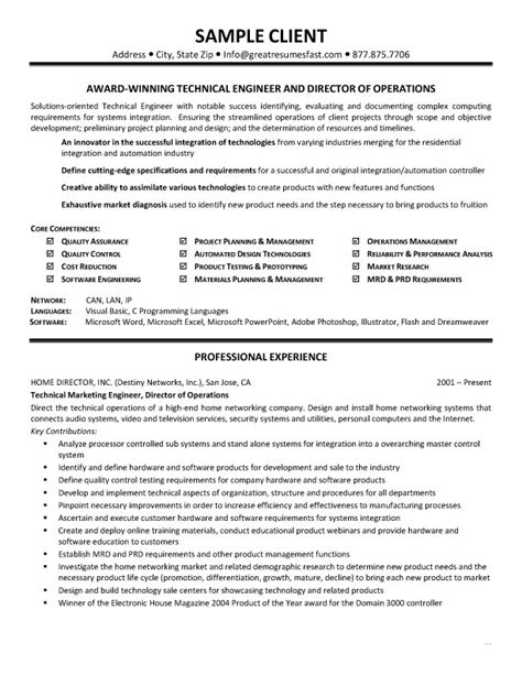 Technical Resume Objective Exles by Technical Skills Resume Exle Sle Resume Format