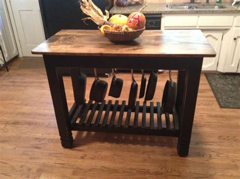 kitchen island table with storage 24 quot x 48 quot hand built kitchen island with pots pans