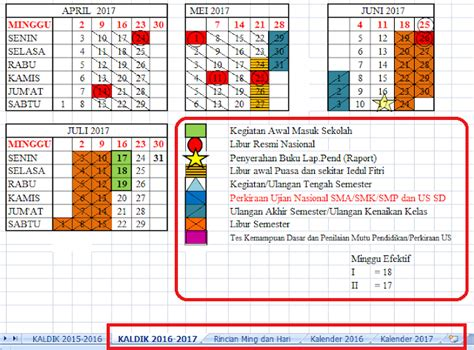 Kalender Baru 2017 kalender pendidikan tahun pelajaran 2016 2017 info guru