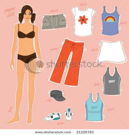 Clothes Out Of Paper - paper doll cut out clipart 90