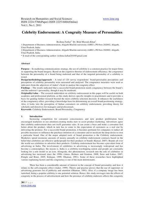 11 Celebrity Endorsement A Congruity Measure Of Personalities Endorsement Contract Template