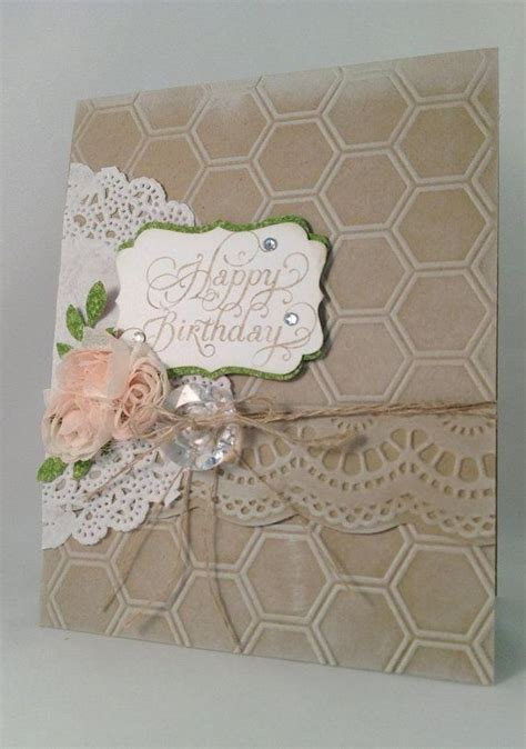 Vintage Handmade Cards - happy birthday vintage shabby chic lacy handmade card