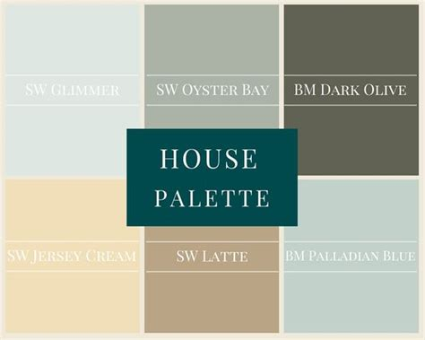a whole house palette in modern neutrals sw glimmer sw oyster bay bm olive sw jersey
