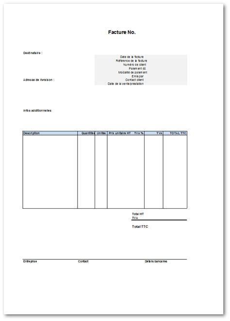 Modele De Facture Vierge mod 232 le gratuit de facture 224 t 233 l 233 charger sous format excel