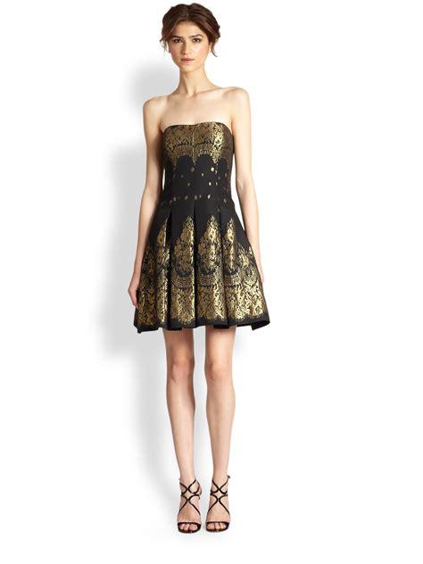 Black Brocade lyst aidan mattox strapless brocade dress in black
